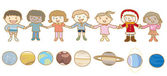Planet and the children of the world holding hands — Stock Vector