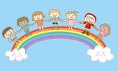 Children holding hands on top of rainbow — Stock Vector