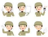 Male workers of various expressions — Stock Vector