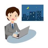 Businessmen that work long hours — Stock Vector