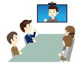 Business people in video meeting — Stock Vector
