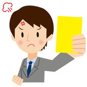 Businessman to show a yellow card — Stock Vector