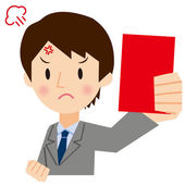 Businessman to show a red card — Stock Vector