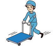Working man push the trolley — Stock Vector