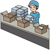 Man have a packing work — Stock Vector