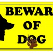Stock Vector: Beware of Dog Sign