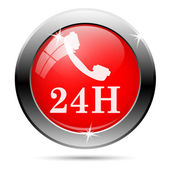 Phone 24 hours icon — Stock Photo