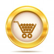 Golden shiny icon — Stock Photo