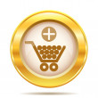 Golden shiny icon — Foto de Stock