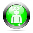 Metallic green glossy icon — 图库照片
