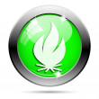 Metallic green glossy icon — Stock Photo