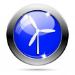 Metallic blue glossy icon — Stockfoto