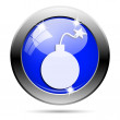 Metallic blue glossy icon — Stock Photo