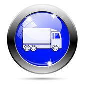 Metallic blue glossy icon — Stock Photo