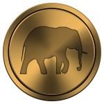 Shiny metallic copper-colored icon — Stock Photo