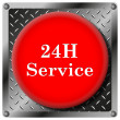 24H Service metallic icon — Stock Photo