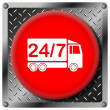Stock Photo: 24 7 delivery truck metallic icon