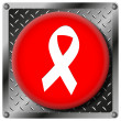 Breast cancer ribbon metallic icon — Stock Photo #31532499