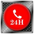 24H phone metallic icon — Foto Stock
