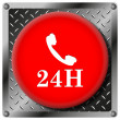24H phone metallic icon — Stock Photo