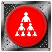 Organisationsschema med människor metalliska ikon — Stockfoto