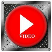 ビデオ再生金属アイコン — ストック写真