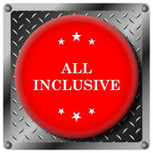 All inclusive metallic icon — Stock Photo