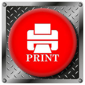 Printer with word PRINT metallic icon — Stock Photo