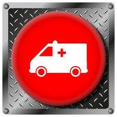 Icône métallique ambulance — Photo