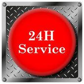 24 saat servis metalik simgesi — Stok fotoğraf