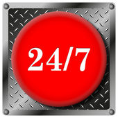24 7 metallic icon — Stock Photo