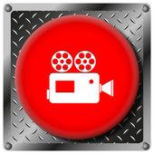 ビデオ カメラ金属アイコン — ストック写真