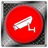 Icono metálico de la cámara de vigilancia — Foto de Stock