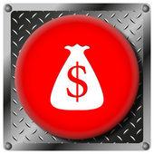 ドル袋金属アイコン — ストック写真