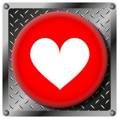 Heart metallic icon — Stock Photo