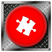 Puzzle piece metallic icon — 图库照片