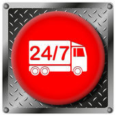 24 7 delivery truck metallic icon — Stock Photo
