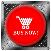 Buy now shopping cart metallic icon — Foto de Stock