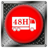 48H delivery truck metallic icon — Stock Photo
