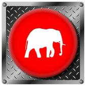Icône métallique de l'éléphant — Photo