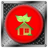 Eco house metallic icon — Stock Photo