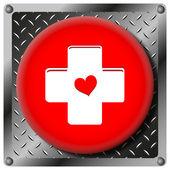 Cross with heart metallic icon — Stock Photo