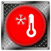 Snowflake with thermometer metallic icon — Stock Photo