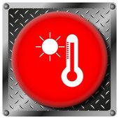 Güneş ve termometre metalik simgesi — Stok fotoğraf