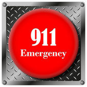 911 Emergency metallic icon — Stock Photo