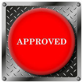 Approved metallic icon — Stock Photo