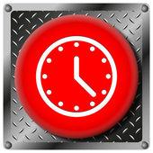 Clock metallic icon — Stock Photo
