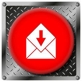 Receive e-mail metallic icon — Foto de Stock