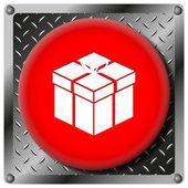 Gift metallic icon — Stock Photo