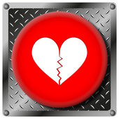 Broken heart metallic icon — Stock Photo